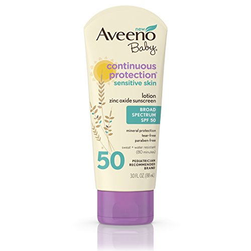Aveeno Baby Continuous Protection Lotion Sunscreen With Broad Spectrum Spf 50, Sweat And Water Resistant, 3 Oz.