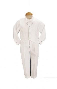 4-Piece-White-Boys-Embroidered-Jacquard-Christening-Baptism-or-Wedding-Vest-Set-0