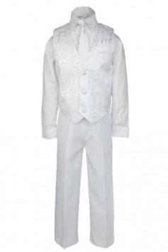 4pc-White-Boy-Kid-Christening-1st-Communion-Church-Holiday-Vest-Set-Suit-5-20-0
