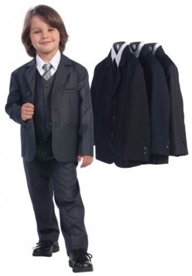 5-Piece-Dark-Gray-Pin-Striped-Suit-with-Silver-Tie-0