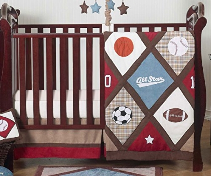 All-Star-Sports-Red-Blue-and-Brown-Baby-Boy-Bedding-4-Piece-Crib-Set-Without-Bumper-0