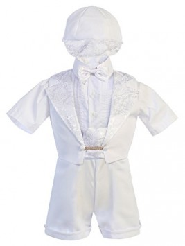 Baby-Boy-Christening-Baptism-Communion-WHITE-Short-Tuxedo-6pc-Outfit-Set-Sz-0-3T-0