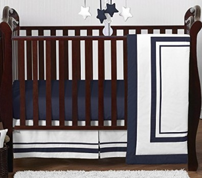 Contemporary-White-and-Navy-Modern-Hotel-Baby-Boy-Girl-Unisex-Bedding-4-Piece-Crib-Set-Without-Bumper-0