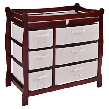 Costzon-Baby-Changing-Table-Infant-Diaper-Nursery-Station-w6-Basket-Storage-Drawers-0