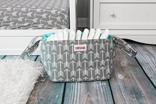 Danha-Gray-Arrow-Diaper-Storage-Caddy-0