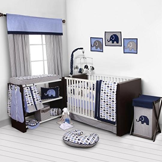 Elephants-BlueGrey-10-pc-crib-set-including-Bumper-Pad-0