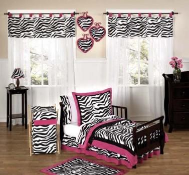 Funky-Zebra-and-Hot-Pink-Toddler-Bedding-5-Piece-Girls-Set-0