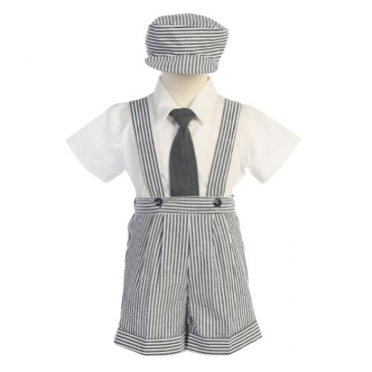 Lito-Charcoal-Stripe-Seersucker-Suspender-Shorts-Outfit-Boys-12M-4T-0