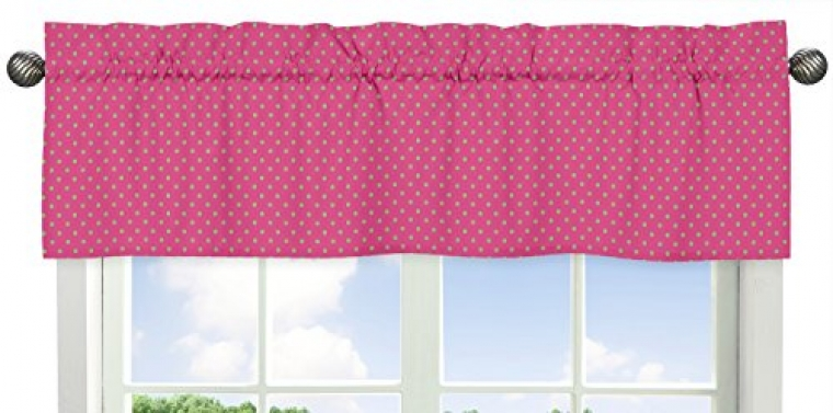 Pink-and-Lime-Polka-Dot-Print-Window-Valance-for-Pink-and-Green-Jungle-Friends-Collection-0