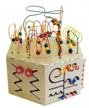 Six-Sided-Play-table-board-Beaded-Wire-Rollercoaster-Pathfinder-Learn-the-Alphabet-an-Abacus-Gears-Magnetic-Circle-Express-and-a-Ziggidy-Zag-Panel-0